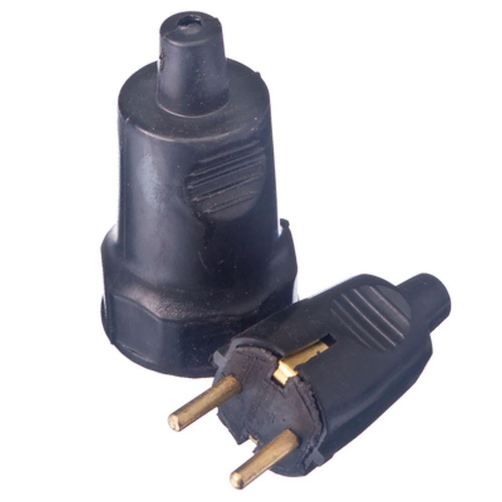 Комплект розетка и вилка влагозащищенная, цвет черный, 3204, 16А, железо