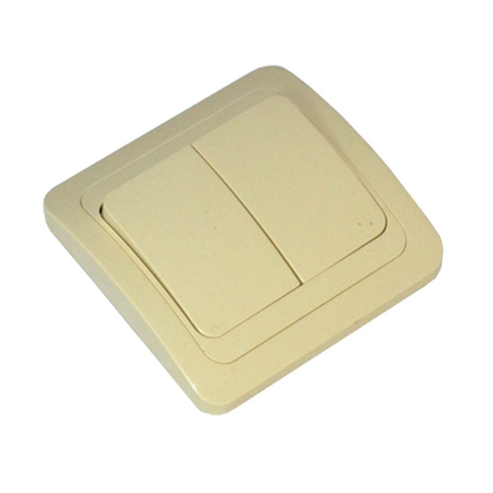 FORZA Классика Выключатель двухклавишный, цвет бежевый 10А 250В, керамика