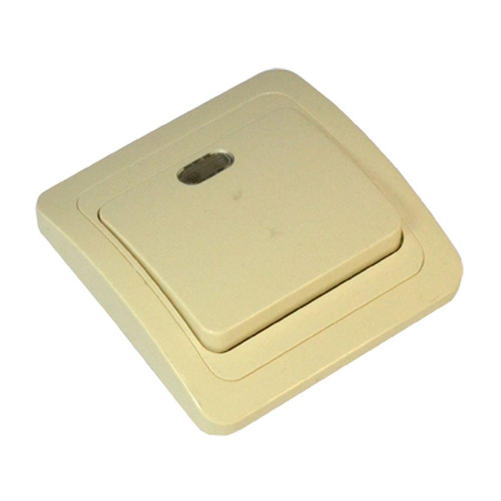 FORZA Классика Выключатель одноклавишный, с подсветкой, цвет бежевый 10А 250В, керамика