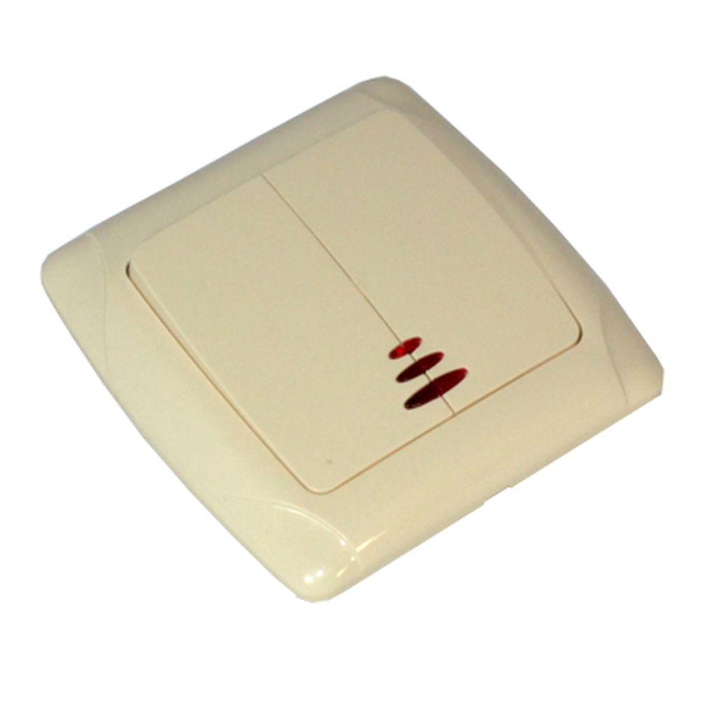 FORZA Кристалл Выключатель двухклавишный, с подсветкой, цвет бежевый 10А 250В