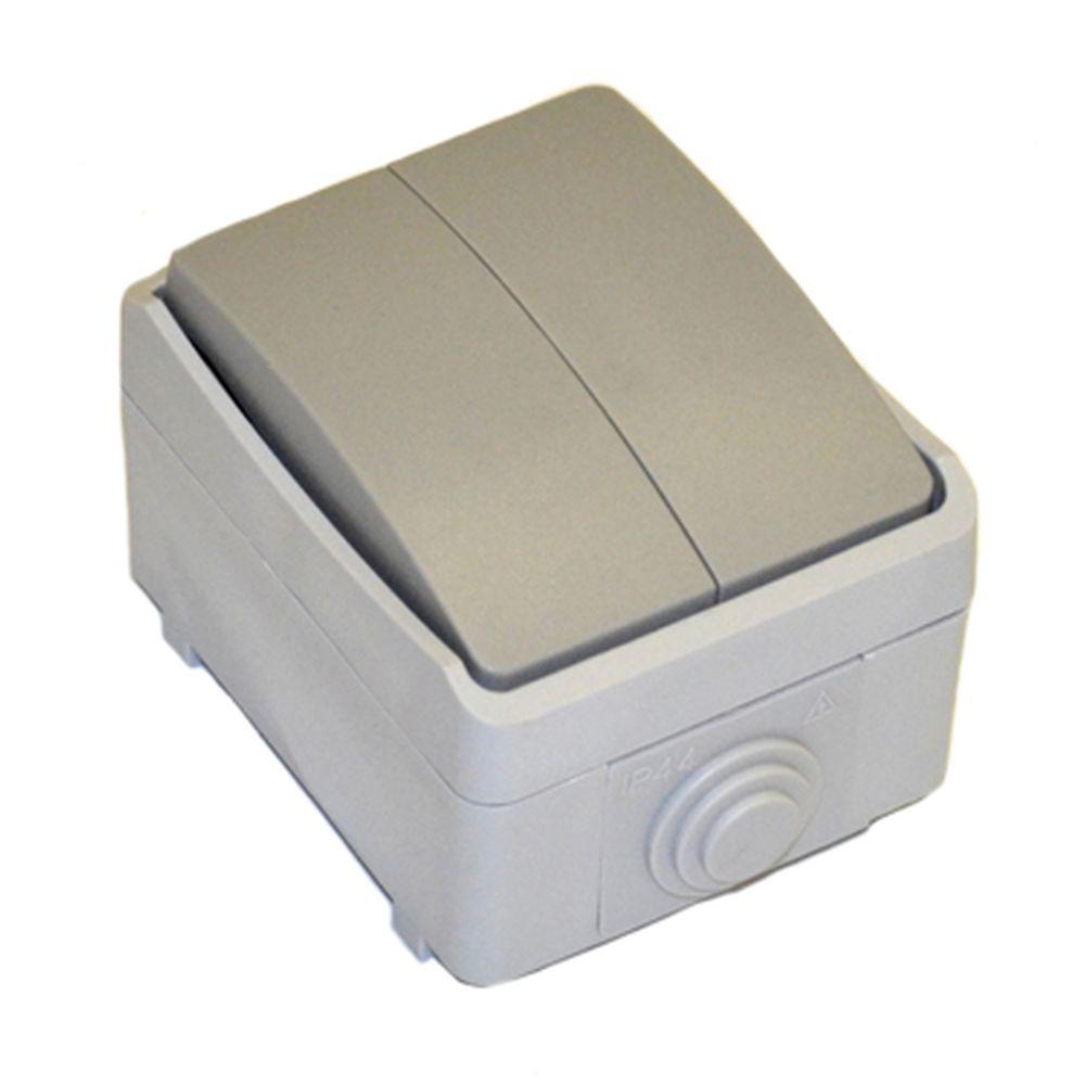FORZA Аква Выключатель двухклавишный накладной 10А 250В, полипропилен