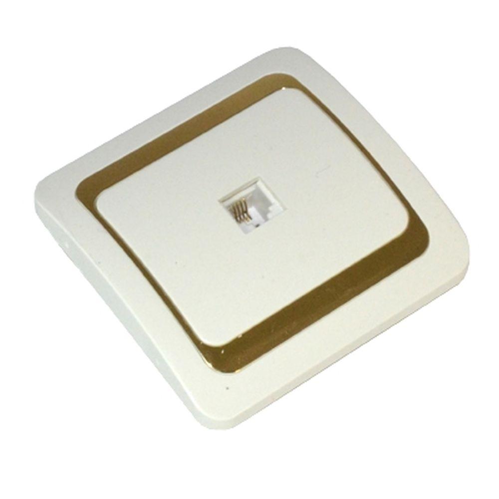 FORZA Золотая коллекция Розетка телефонная, цвет белый с золотой вставкой 16А 250В, керамика