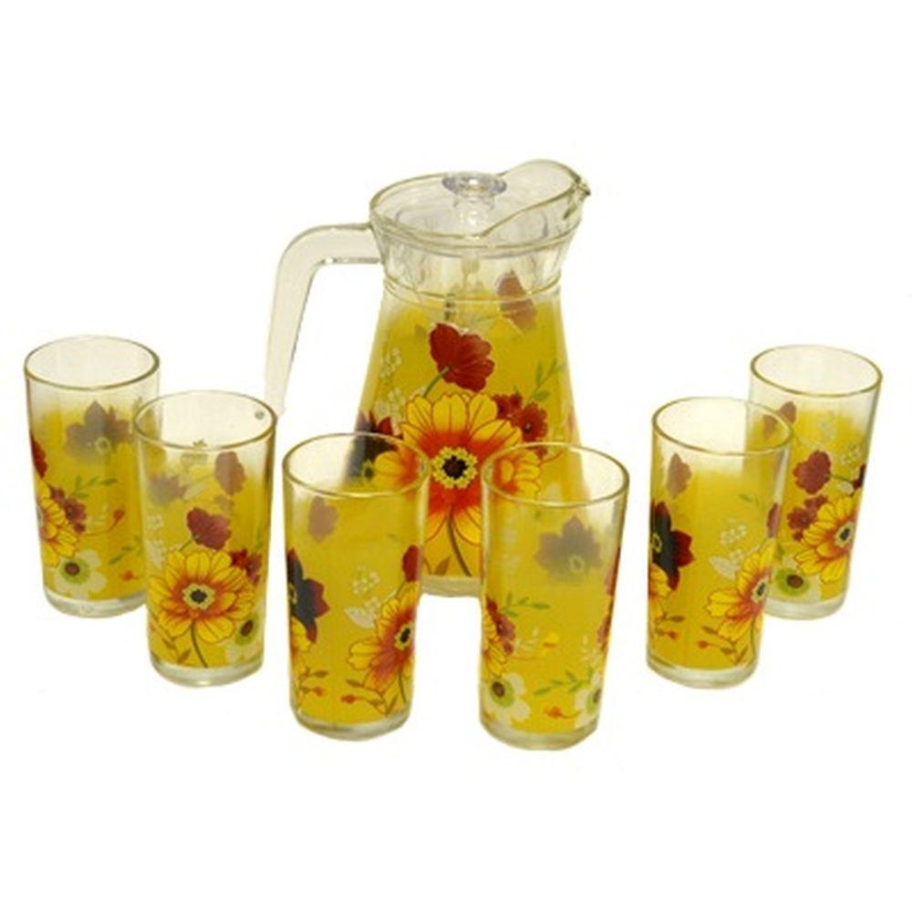 VETTA Набор 7 пр. (стаканы 6шт 270мл, кувшин 1,5л с крышкой), стекло, «Цветочная поляна»