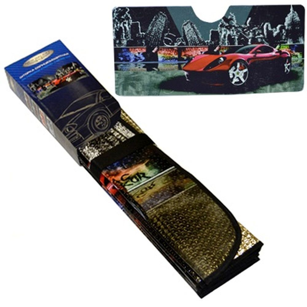 "NEW GALAXY Шторка солнцезащитная на лобовое стекло, 146х68см, с рисунком ""Мегаполис"""