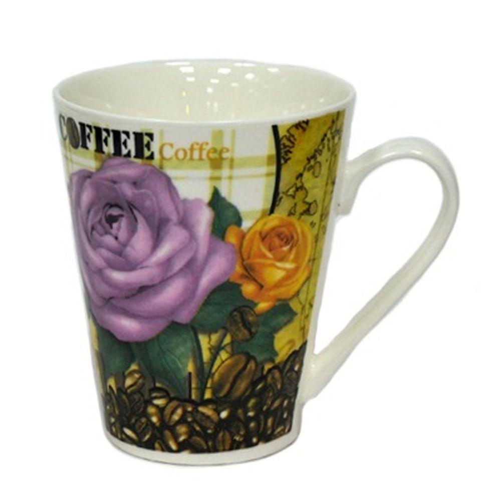 Кружка 330мл, фрф, Розы и Кофе