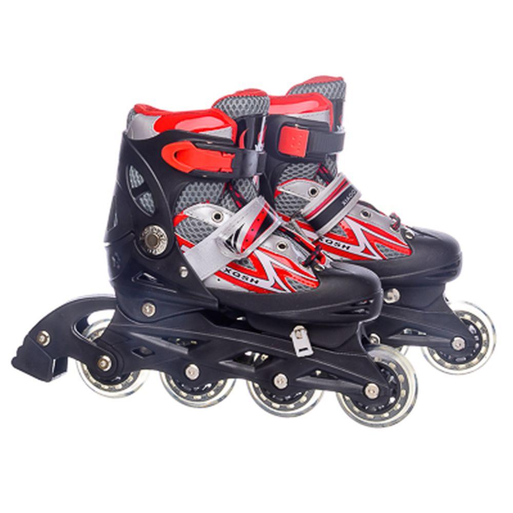 Коньки роликовые раздвижные, база пластик, колеса ПВХ S:30-34, красный, 8031