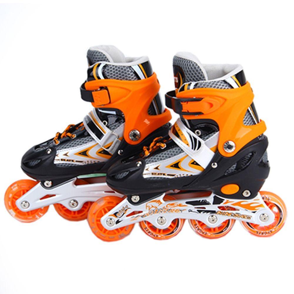 Коньки роликовые раздвижные, база алюм, колеса PU M:35-38, оранжевый, 8901B
