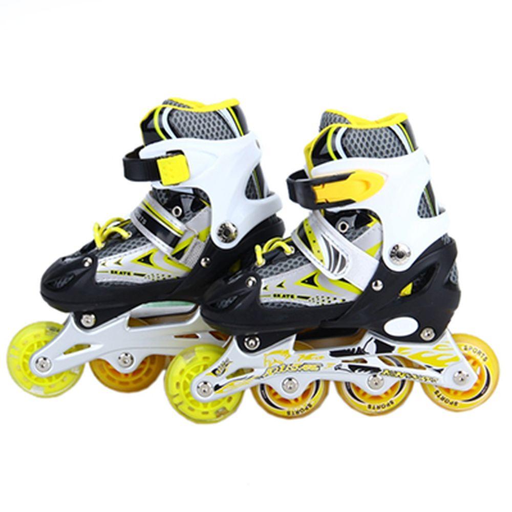 Коньки роликовые раздвижные, база алюм, колеса PU S:30-34, желтый, 8901B