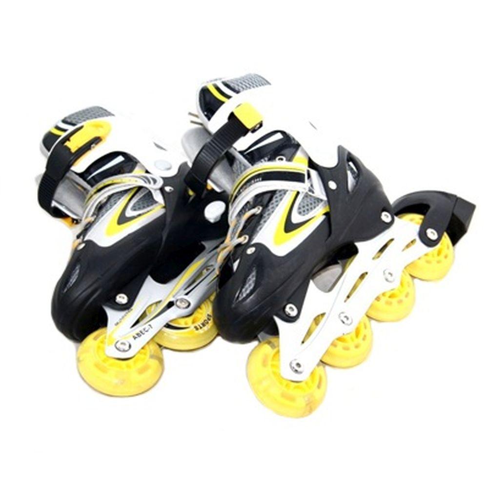 Коньки роликовые раздвижные, база алюм, колеса PU L:39-42, желтый, 8901B