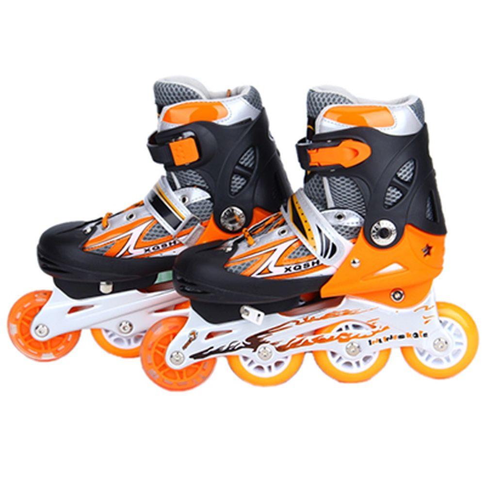 Коньки роликовые раздвижные база алюм, колеса: 3 ПВХ+ 1 PU S:30-34, оранжевый, 8036С