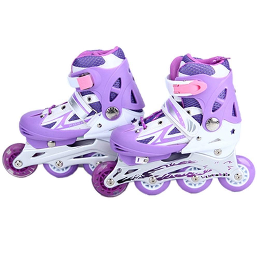 Коньки роликовые раздвижные база алюм, колеса: 3 ПВХ+ 1 PU S:30-34, фиолетовый, 8036С