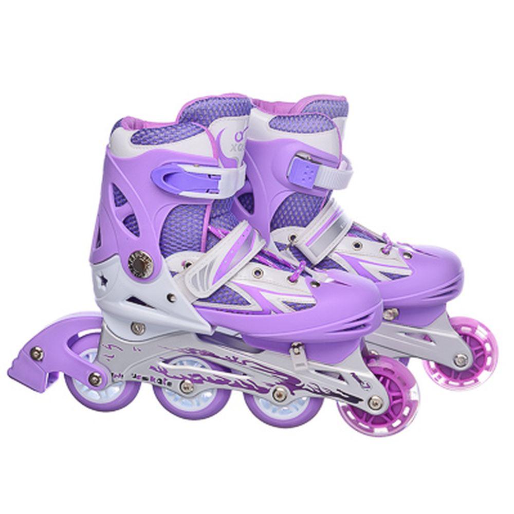 Коньки роликовые раздвижные база алюм, колеса: 3 ПВХ+ 1 PU M:35-38, фиолетовый, 8036С