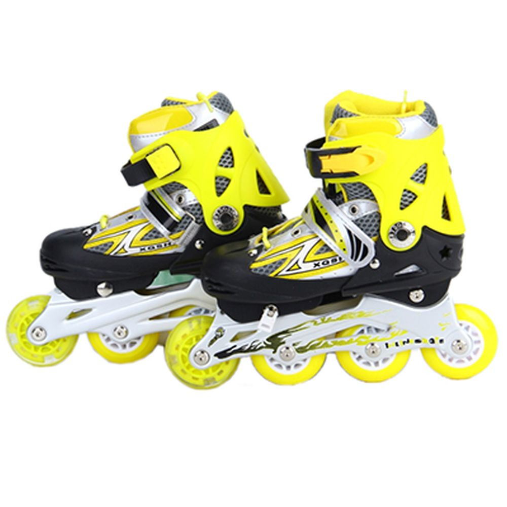 Коньки роликовые раздвижные база алюм, колеса: 3 ПВХ+ 1 PU S:30-34, желтый, 8036С