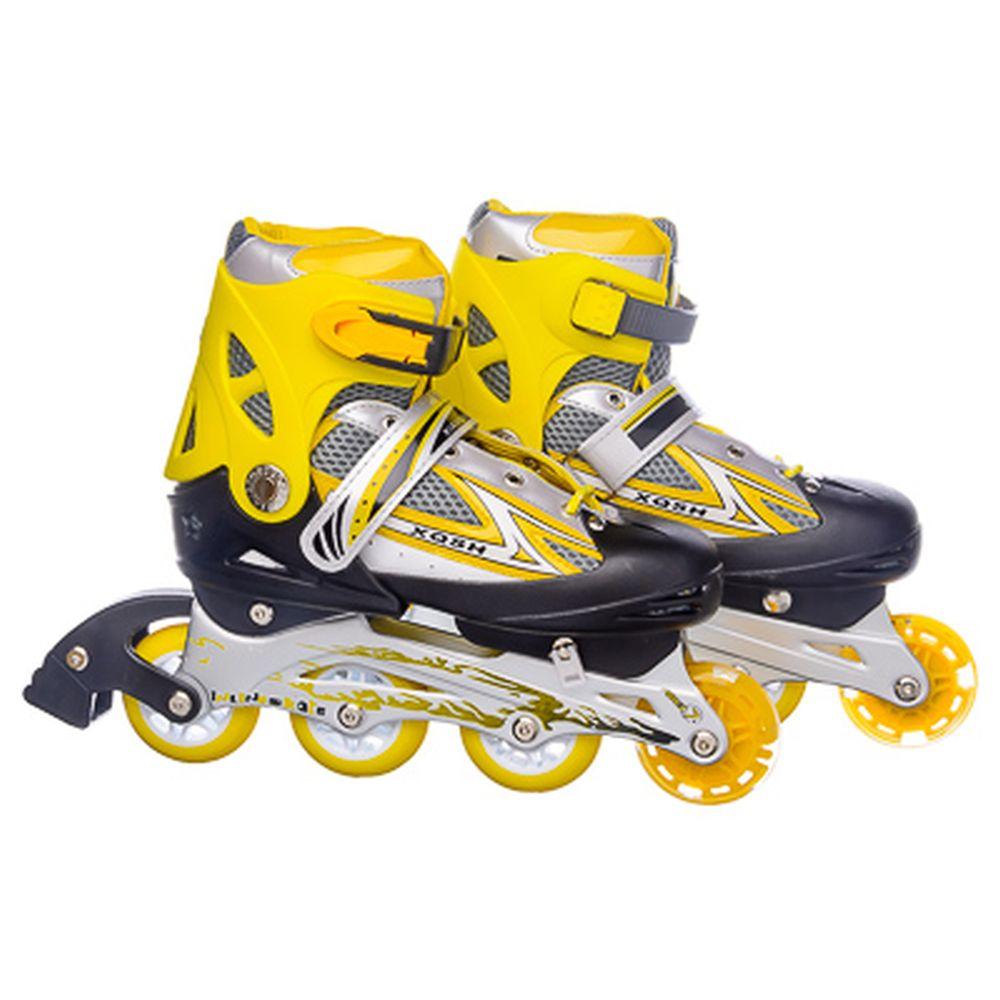 Коньки роликовые раздвижные база алюм, колеса: 3 ПВХ+ 1 PU L:39-42, желтый, 8036С
