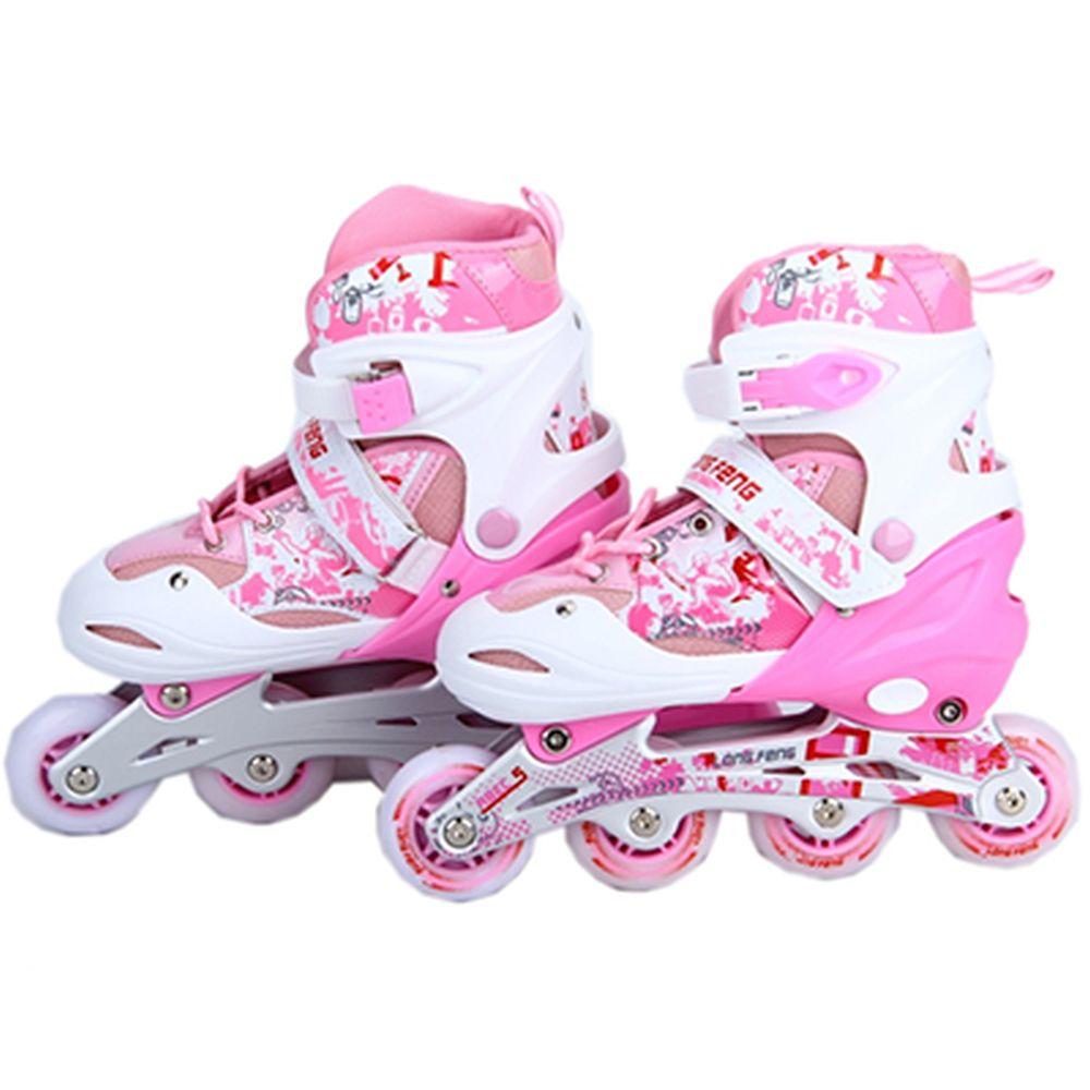 Коньки роликовые раздвижные, база алюм, колеса: 3 ПВХ+ 1 PU со светом M:35-38, розовый, 906