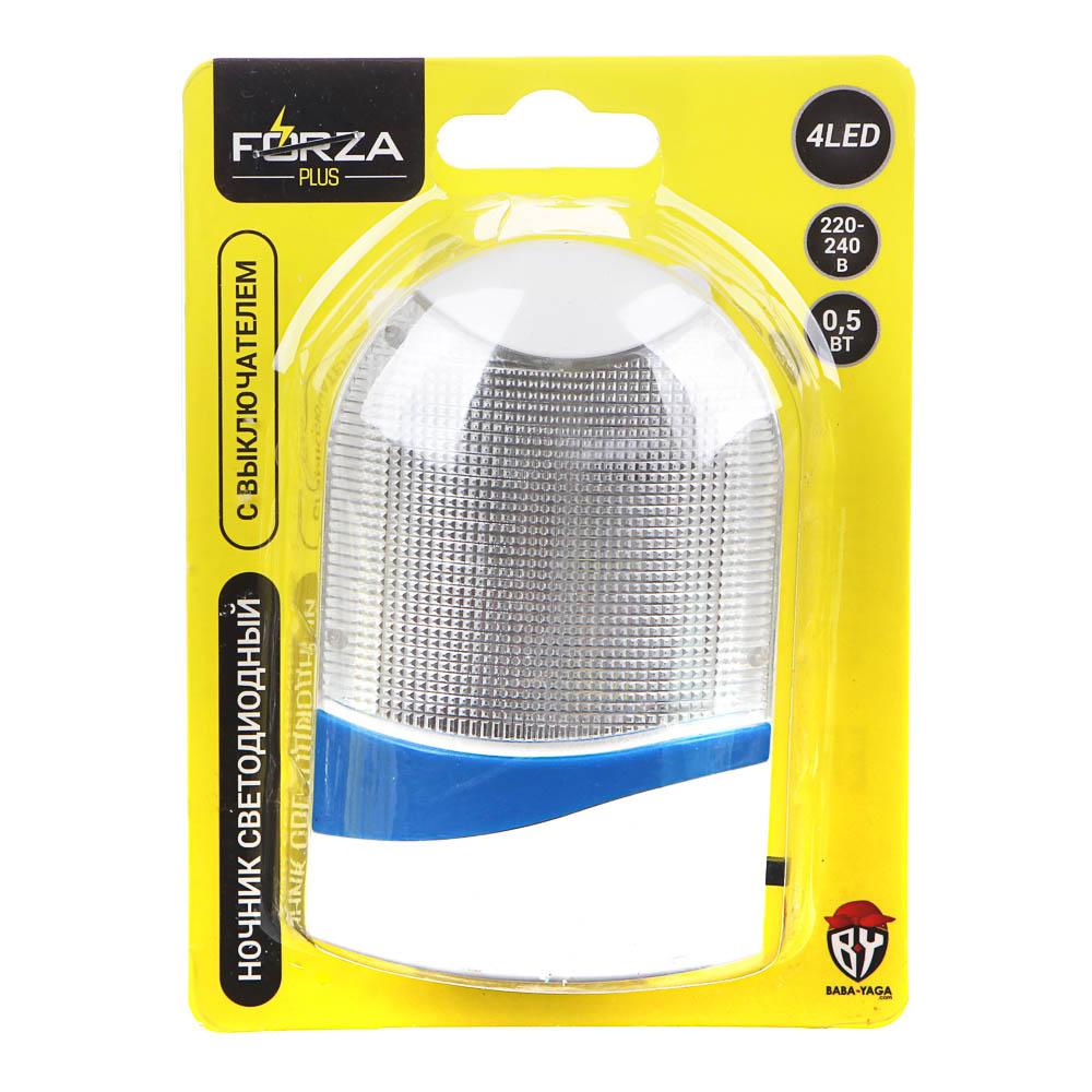 Ночник светодиодный 4LED с выключателем, 8,5х5х7,5 см, 220 В, 0,5 Вт, пластик, 3 цвета