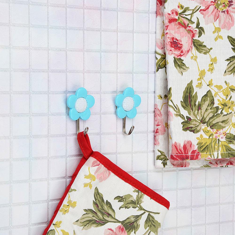 Крючки самоклеящиеся для полотенец 3 шт, пластик/металл,5,5х5 см, 2 дизайна, ВЕСЕЛЫЙ РОДЖЕР