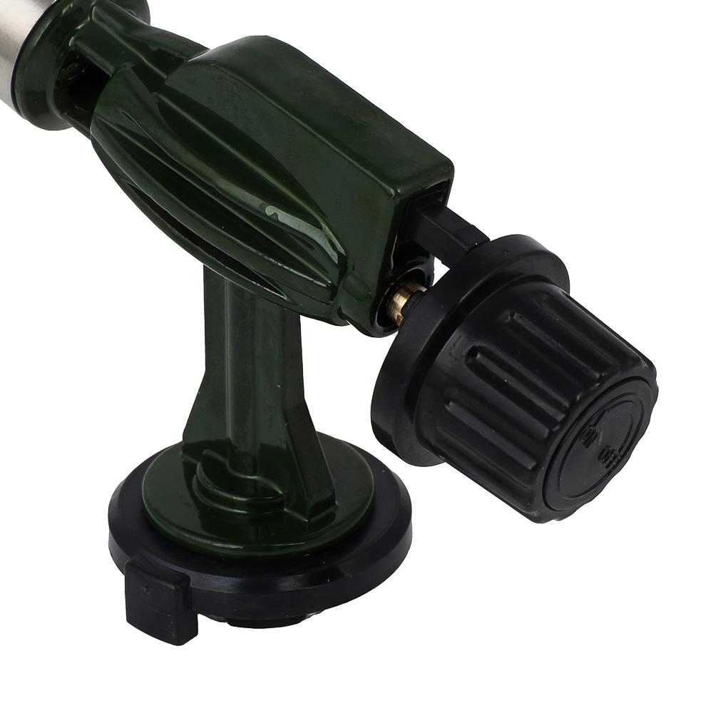 Горелка газовая ЧИНГИСХАН с пьезорозжигом, цанговый захват, широкое сопло; 14х4х7,5см