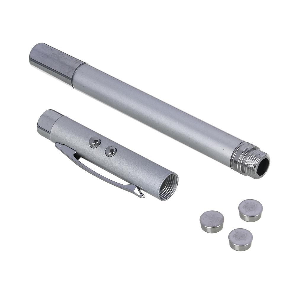 ЧИНГИСХАН Ручка - выдвижная указка, 1 LED + лазер, 3xAG3, пластик, металлический пенал, 18х3,5 см