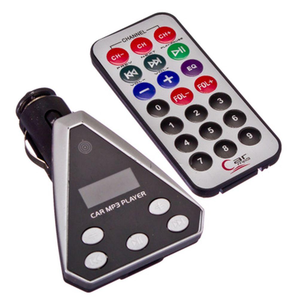 FM модулятор для авто треугольный, MP3, USB+TF, 3 цвета
