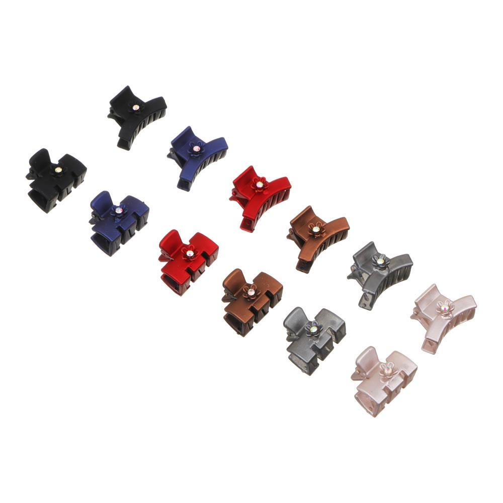 Заколка-краб для волос со стразами, пластик, 3 см, 6 цветов