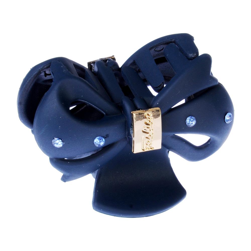 Заколка-краб для волос со стразами, пластик, 4,5 см, 6 цветов