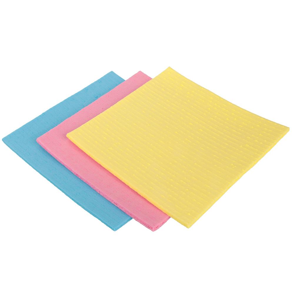 Набор салфеток для кухни губчатых 3 шт, 15,5х16 см, цветные, GRIFON