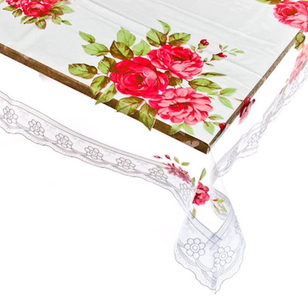 Скатерть на стол виниловая, прозрачная с ажурной каймой, 140x140см, VETTA