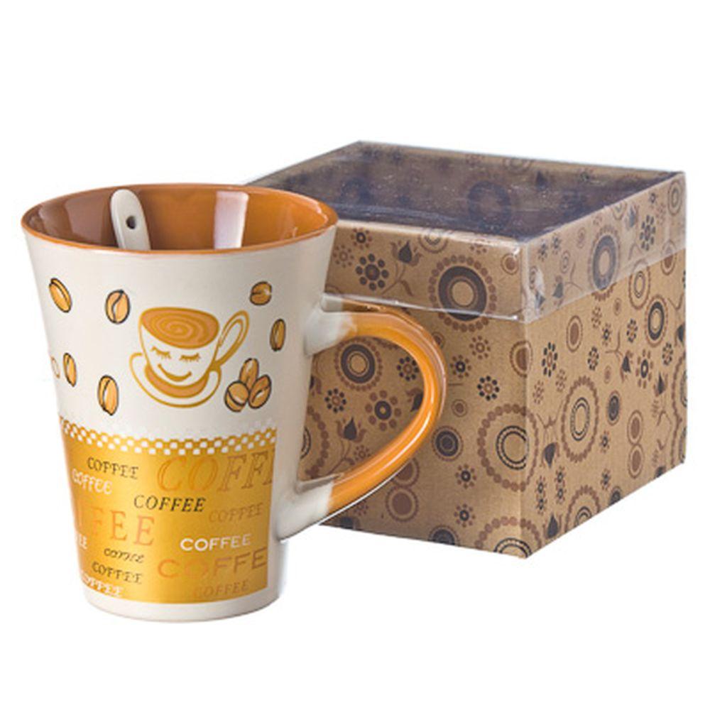"""Кружка с ложкой, """"Кофе"""", в подар. уп."""