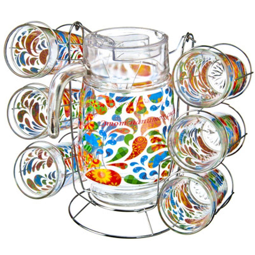 "VETTA Набор 7 пр. (стаканы 6шт 270мл, кувшин 1,5л с крышкой), стекло, подар.уп, ""Pure Joy"" + металл."