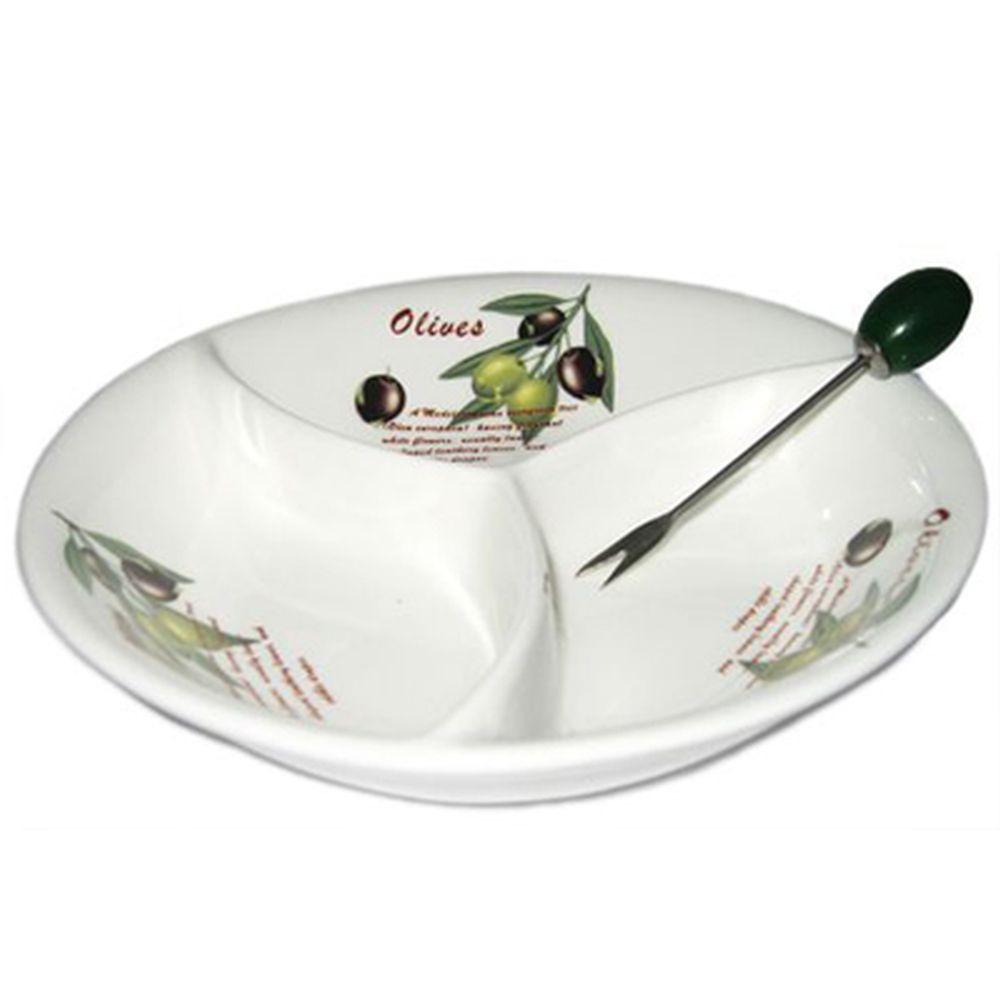 Оливки Менажница с вилочкой, подар упак, 0239