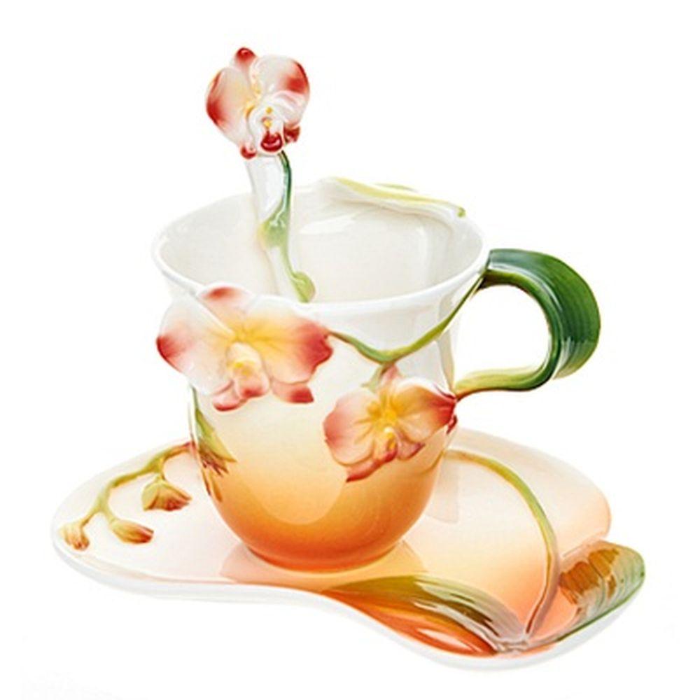 Набор чайный 3 пр. (чайная пара 150мл + ложечка) Дикая орхидея, 1160064