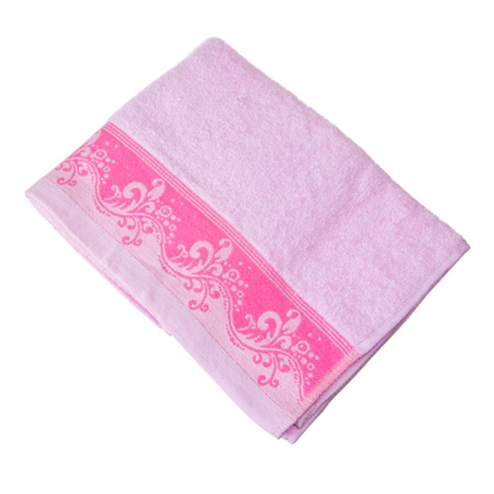 VETTA Полотенце банное, 100% хлопок с бордюром Lombardia 50x90см розовое