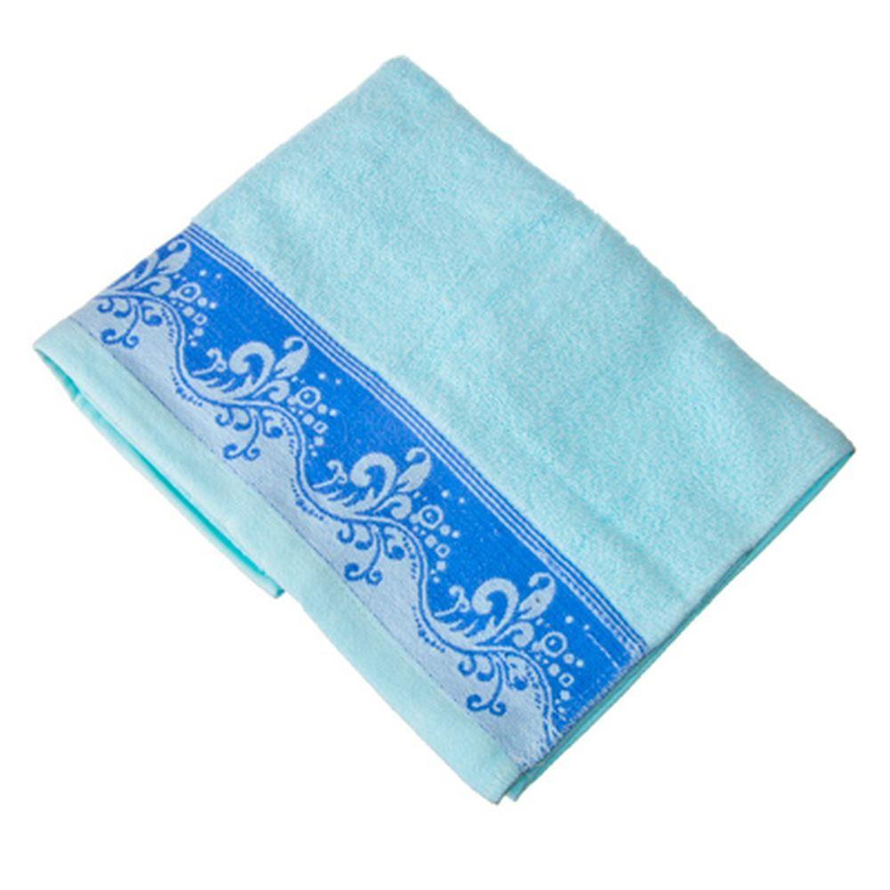 VETTA Полотенце банное, 100% хлопок с бордюром Lombardia 50x90см голубое