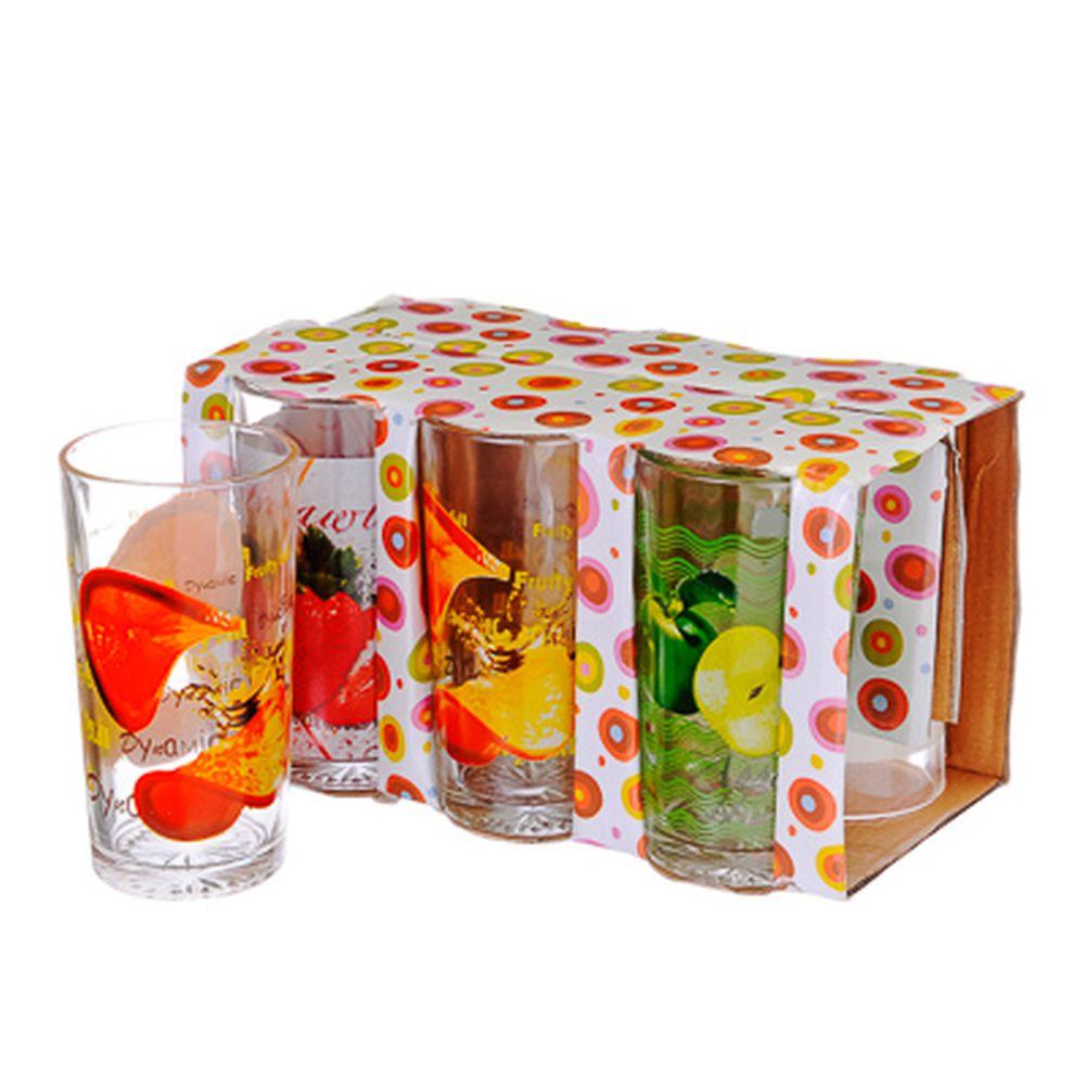 VETTA Набор стаканов 6шт, стекло, 270мл, подар.уп, Фрукты, 3 дизайна