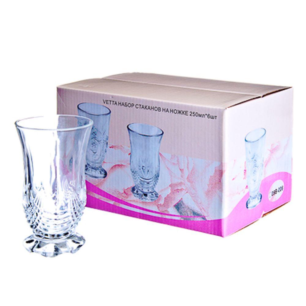VETTA Набор стаканов 6шт, стекло, 250мл, подар.уп, на ножке, 09B-039