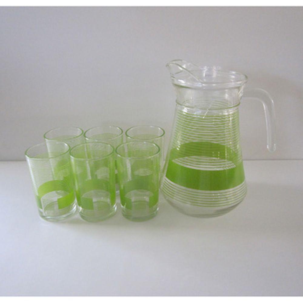 "VETTA Набор 7 пр. (стаканы 6шт 240мл, кувшин 1,5л с крышкой), стекло, подар.уп, ""Green Strips"""