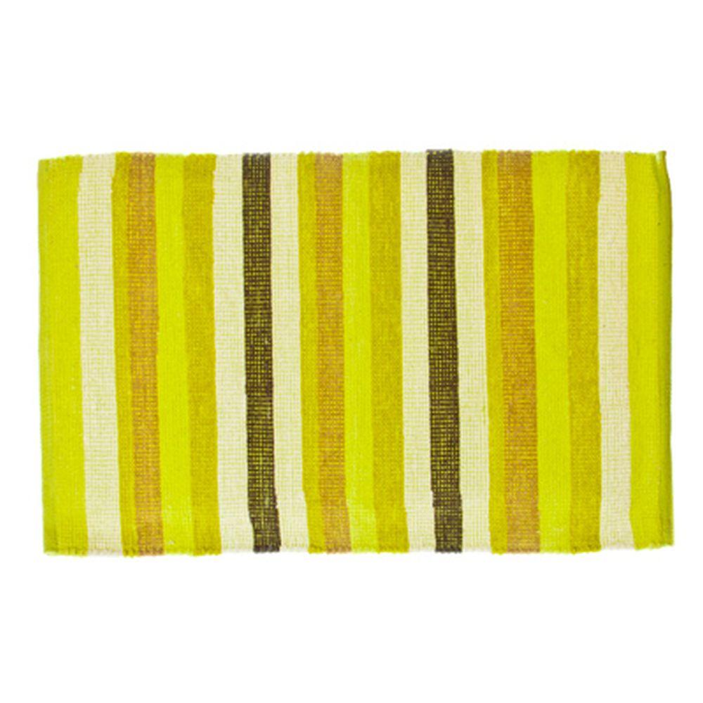 VETTA Коврик интерьерный, хлопок 100%, 60x90см, полосатый, зелёный