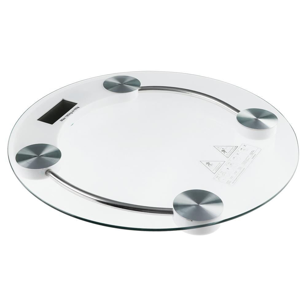 Весы напольные электронные до 180 кг, ЖК-дисплей, круглые d.33 см