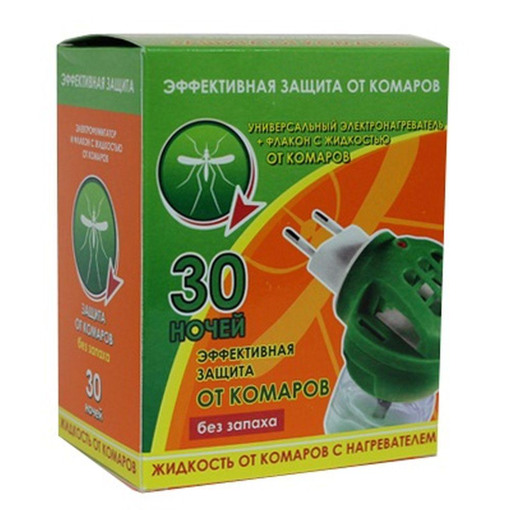 Комплект электрофумигатор + флакон жидкости от комаров 30мл, 30 ночей, без запаха