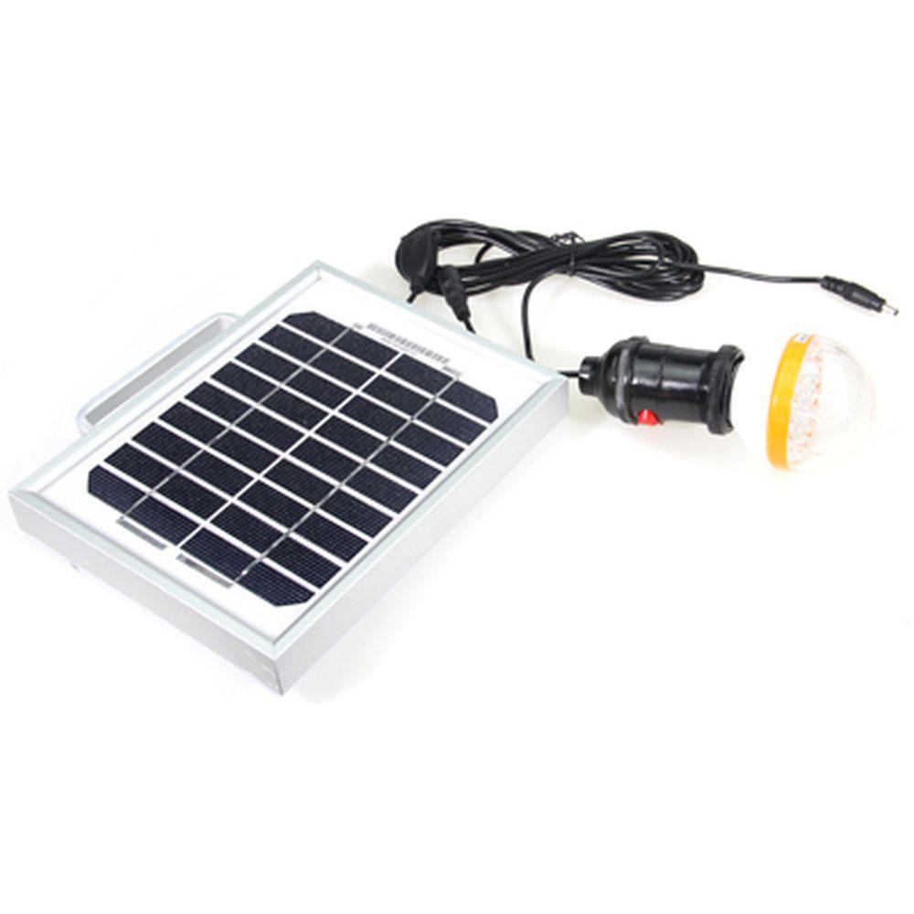 Аккумулятор на солнечной батарее с LED лампой и USB входом, портативный 6V