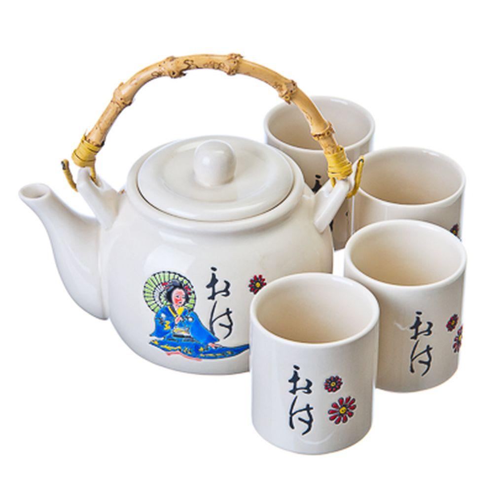 """Набор для чайной церемонии 5 пр. (чайник с бамбуковой ручкой + 4 кружки), керамика, """"Восточный"""""""