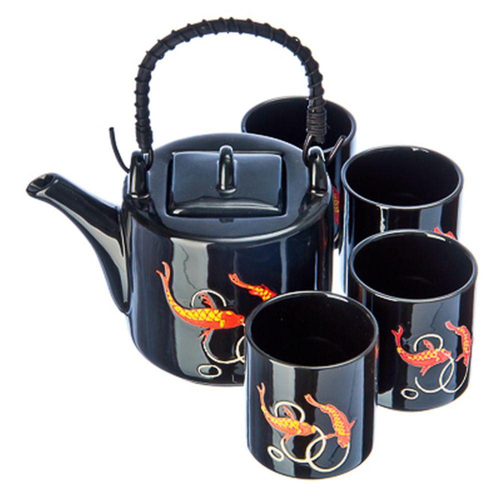 """Набор для чайной церемонии 5 пр. (чайник + 4 кружки), керамика, """"Золотая рыбка"""", черный"""