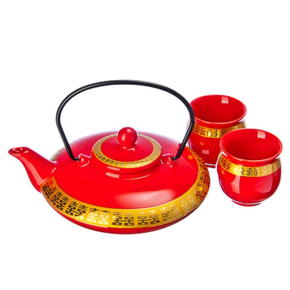 """Набор для чайной церемонии 3 пр. (чайник + 2 кружки), керамика, """"Золотой орнамент"""", красный"""