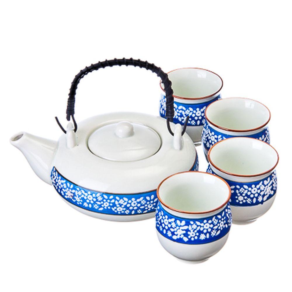 """Набор для чайной церемонии 5 пр. (чайник + 4 кружки), керамика, """"Синий орнамент"""", белый"""