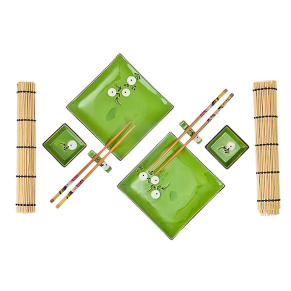 """Набор для суши 10 пр., квадрат, """"Белые цветы"""", зеленый, подар.уп.."""