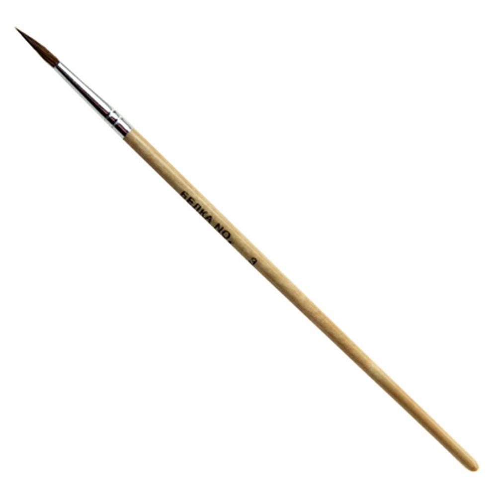 Кисть художественная Белка №3, деревянная ручка, металлическая оплетка, 1