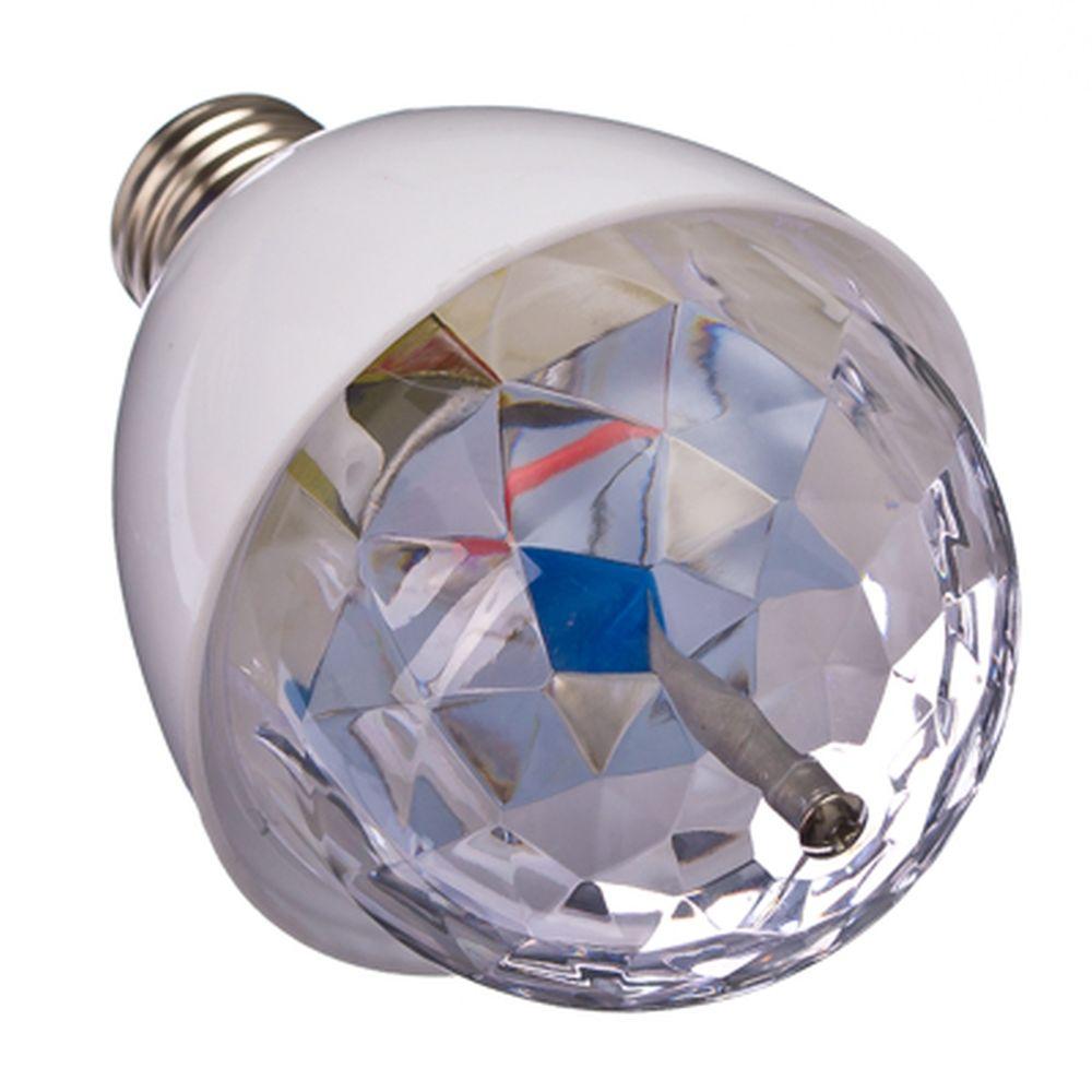 Лампочка-проектор вращающаяся, E27, 13см