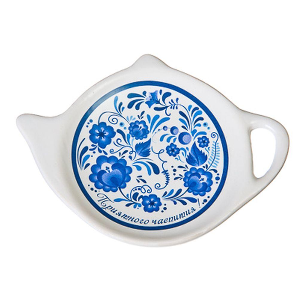 """Подставка для чайных пакетиков керамика, 12,5x8x0,96см, """"Гжель"""""""