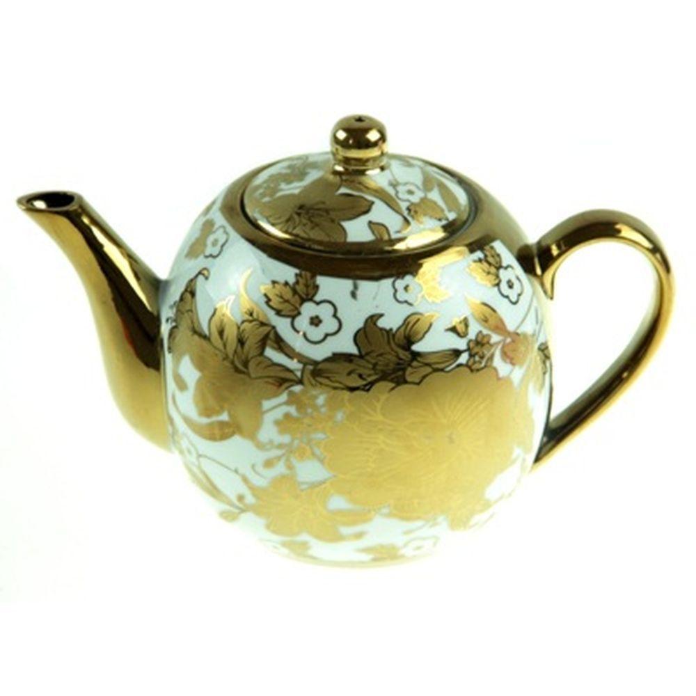 """Чайник заварочный 700 мл """"Золотые цветы на белом"""" фарфор, микс"""
